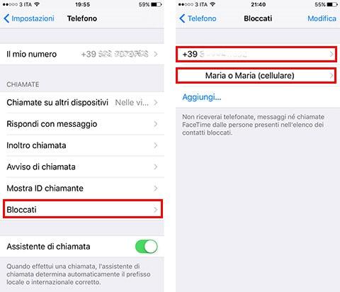 Come bloccare contatto su iOS 9