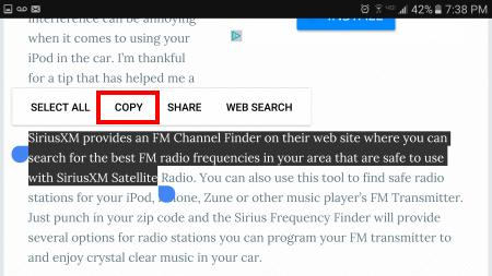 Come Tagliare, Copiare e Incollare testo su Android