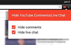 Come nascondere o disattivare chat Youtube
